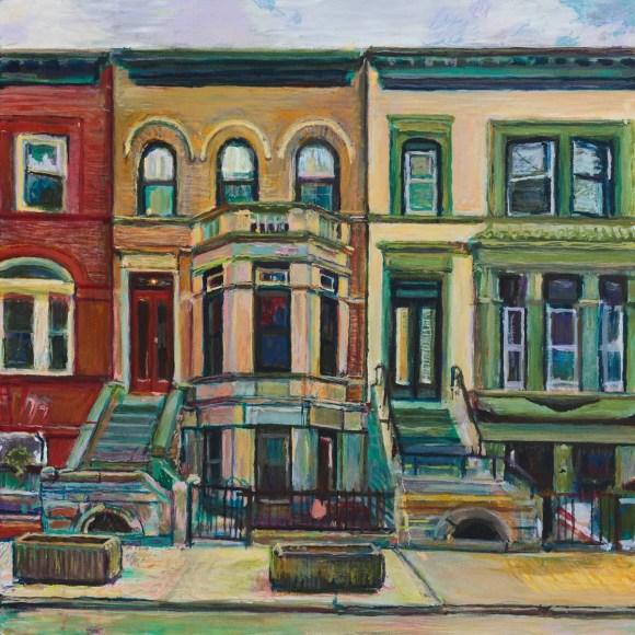 Painting of Midwood St brownstones by Noel Hefele