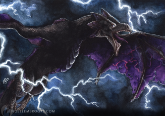 lightning wyvern, wyvern, wyverns, dragon, dragons, lightning, thunder, storm, stormy, storms, rain, raining, grey, gray, black, fantasy, purple, violet, pink, creature, creatures, monster, monsters, mythical, fantasy, watercolor, watercolors, watercolour, watercolours, painting, paintings, paint, ink, inks, pen, ballpoint pen, mixed media, drawing, drawings, nature, realism, realistic, noellembrooks, noelle m brooks, noelle brooks, art, illustration, illustrations, portrait, portraits, portraiture