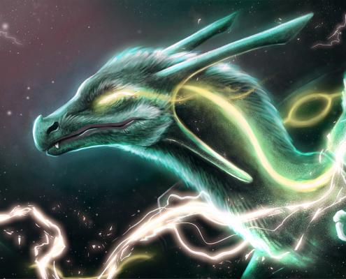 green dragon, dragon, dragons, fantasy, lightning, space, digital, digital media, adobe photoshop, photoshop, noellembrooks, noelle m brooks, noelle brooks, art, illustration, illustrations