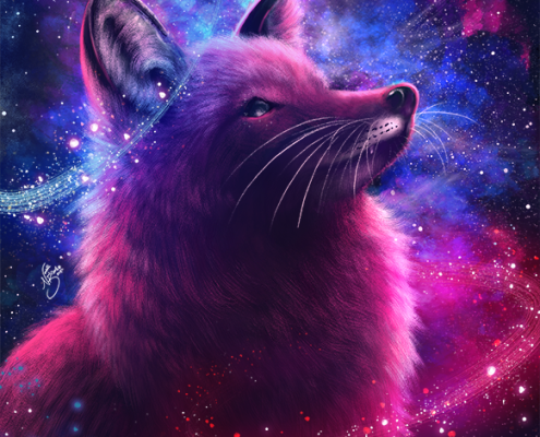red fox, red foxes, fox, foxes, space, nova, nebula, universe, cosmos, pink, pinks, blue, blues, purple, purples, violet, violets, digital media, animal, animals, wildlife, nature, realism, realistic, noellembrooks, noelle m brooks, noelle brooks, portrait, portraits, portraiture