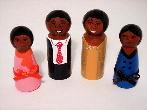 Obama family wooden dolls