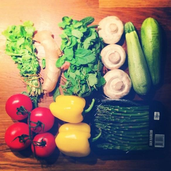 knolling veggies
