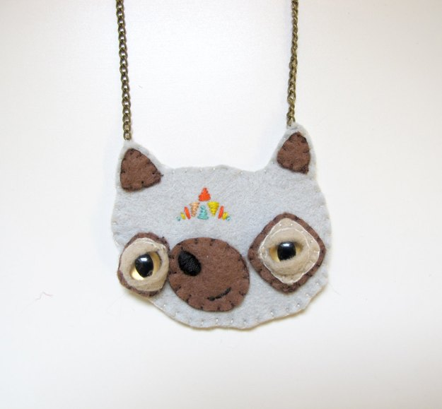 felt bear necklace