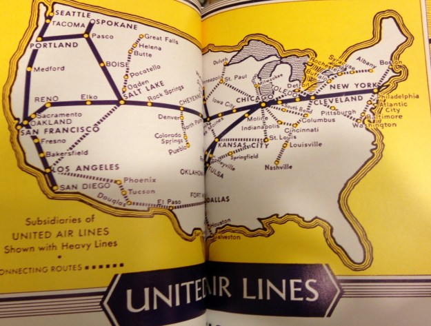 United airlines US map 1950's