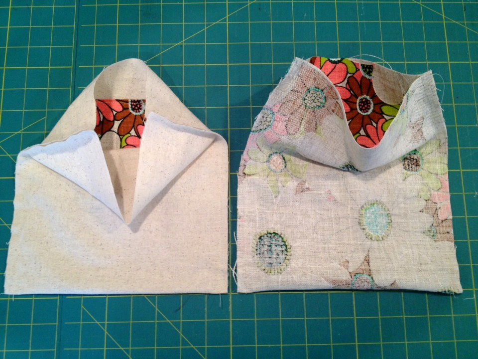 inside and outside, side seams sewn