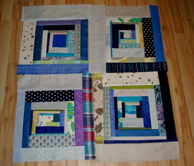 blue squares perspective quilt