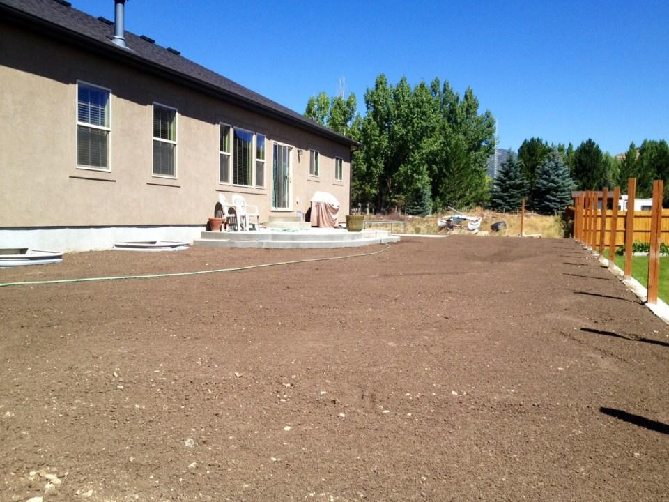 topsoiled yard
