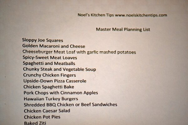 Create A Master Meal Planning List