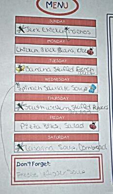 Weekly Menu Chart