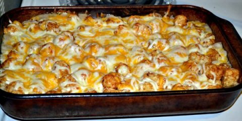 Tater Tot Casserole Right Out Of Oven