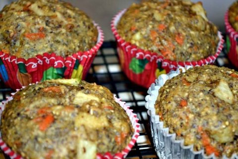 Flax Seed Carrot Apple Muffins