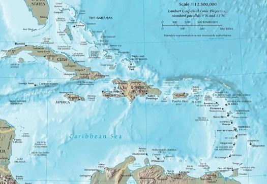 la posizione della Repubblica Dominicana nell'area caraibica