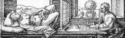 Illustration 2. Artist painting a lying model. Albrecht Durer