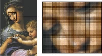Illustration 3. Pixel matrix (Virgin at the Rose, by Raphael). Manuel Viñas Limonchi
