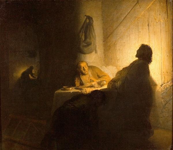 Rembrandt, Pilgrims at Emmaus,1629 circa