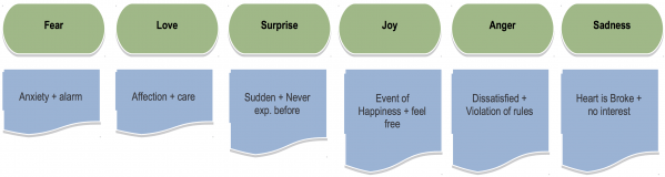 Figure 1: The six major categories of emotion and their subcategories