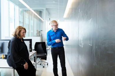 Lynn Hershman and Thomas Huber on the Novartis Campus in Basel. Photo: Novartis/Laurids Jensen