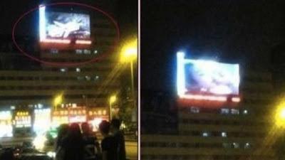 Una película porno se proyecta accidentalmente en una macropantalla de China