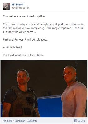 Confirmada la fecha de estreno y la aparición de Paul walker en 'Fast & Furious 7'
