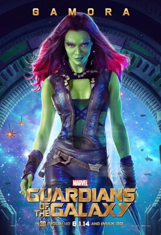 Póster de 'Guardianes de la Galaxia' centrado en Zoe Saldana, es decir, Gamora