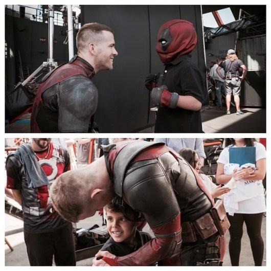 Ryan Reynolds recibe una visita muy especial en el set de 'Masacre ('Deadpool')
