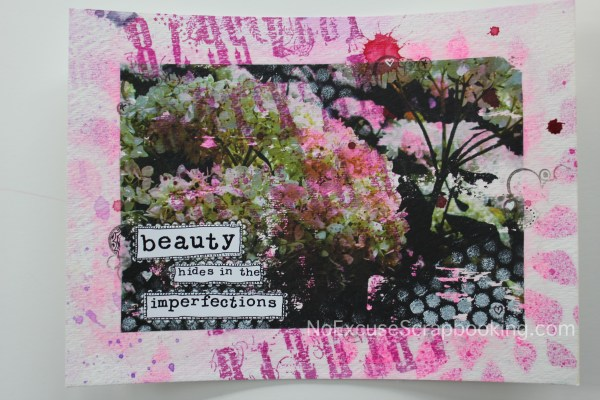 hydrangea photo transfer art || noexcusescrapbooking.com