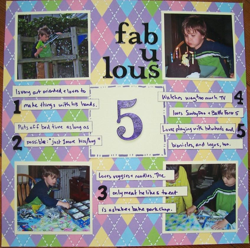 fabulous 5    noexcusescrapbooking.com