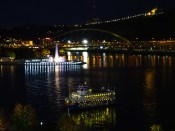 That's the fountain at Point State Park in the background. In the foreground is one of the boats in the Gateway Clipped Fleet shuttling fans to Heinz Field