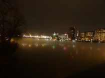 Hartford reflected, almost, in the foggy CT River.