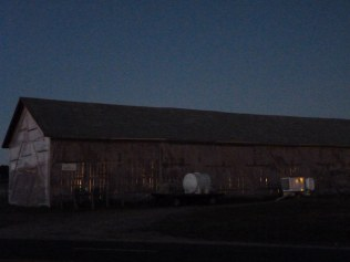 Early AM view of the barn with tobacco drying inside
