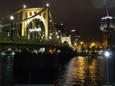 Pittsburgh renamed the 6th St bridge after fallen baseball hero Roberto Clemente. This bridge is closed to traffic on game days so fans can walk across to PNC Park.