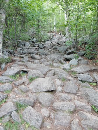 The rocks are getting steeper.