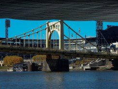 Roberto Clemente Bridge, from under And Warhol Bridge with PNC Park in background