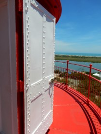 This door opens to the balcony that rings the lighthouse, about 8' below the lamp.