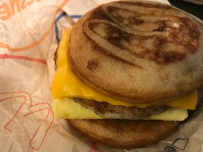 A little better than the Egg McMuffin is the Sausage, Egg & Cheese McGriddle