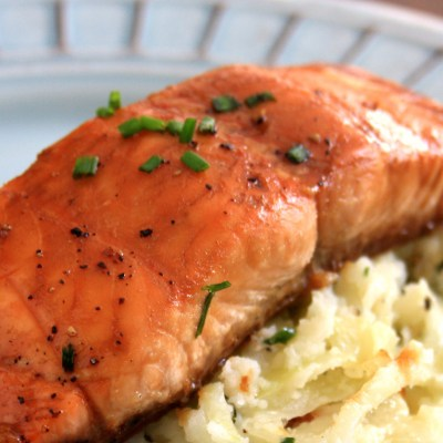 Molasses Butter Salmon Steaks