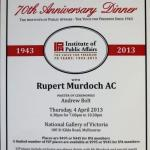 IPA 70th Anniversary dinner attended by Murdoch, Rinehart, Pell, Abbott, Bolt,