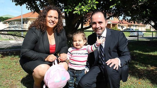 Refused leave to look after her sick daughter: Michelle Rowland with daughter Octavia Chaaya and husband Michael Chaaya. Photo: Supplied - The Age