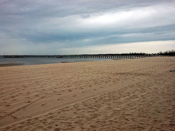 Altona Beach, including the pier. A popular place for fishing and swimming.