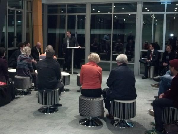 Greens' Rod Swift addresses Gellibrand's first candidates' forum.
