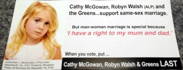Advertising opposing Indi candidates who support marriage equality