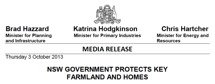 NSW Government media release - protecting some families, not others