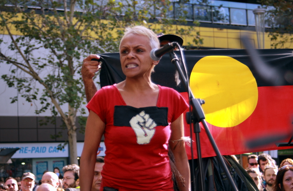 "An intervention from Gooniyandi woman Vivian Malo: ""You stop hurting this land, you stop hurting my brothers and sisters, you stop locking us up"". Photo: Wayne Jansson"