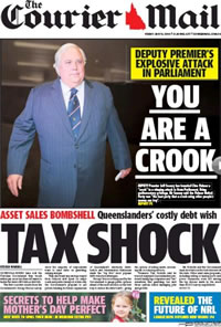The Courier Mail: Clive Palmer's accused of being a crook by DP Jeff Seeney and challenged to say it outside parliamentary privilege.