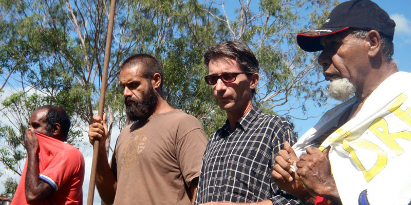 United we stand: Conscious of the original invasion in Australia, Doubtful Creek landowner Dean Draper works alongside men from the Githabul-Ngarakwal Tribe of NSW to protect the land from coal seam gas mining in Northern NSW and quarry expansions on sacred sites at Cedar Point.