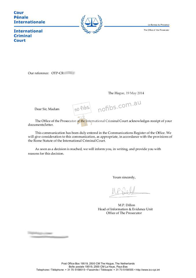 ICC recieves submission regarding Australia and refugees