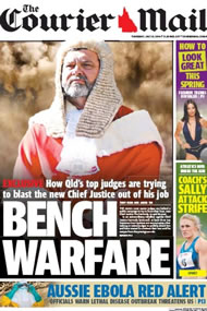 The Courier Mail, July 31, 2014 claimed a conspiracy amongst the top judges to remove Chief Justice Tim Carmody.