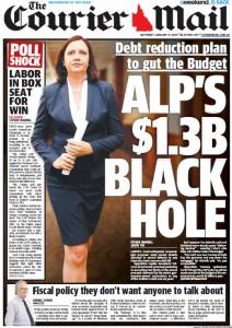 The Courier Mail: January 17, 2015, - ALP's $1.3b Black Hole