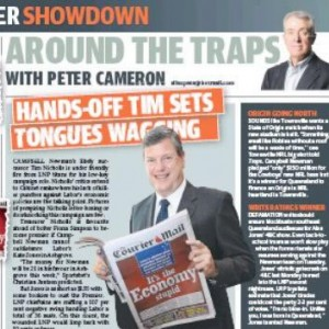 """25/01/15 - Tim Nicholls in The Sunday Mail reading The Courier Mail """"It's the Economy stupid"""""""