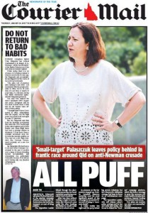 29/01/15 The Courier Mail - 'Small-target' Palaszczuk leaves policy behind in frantic race around Qld on anti-Newman crusade - All Puff.